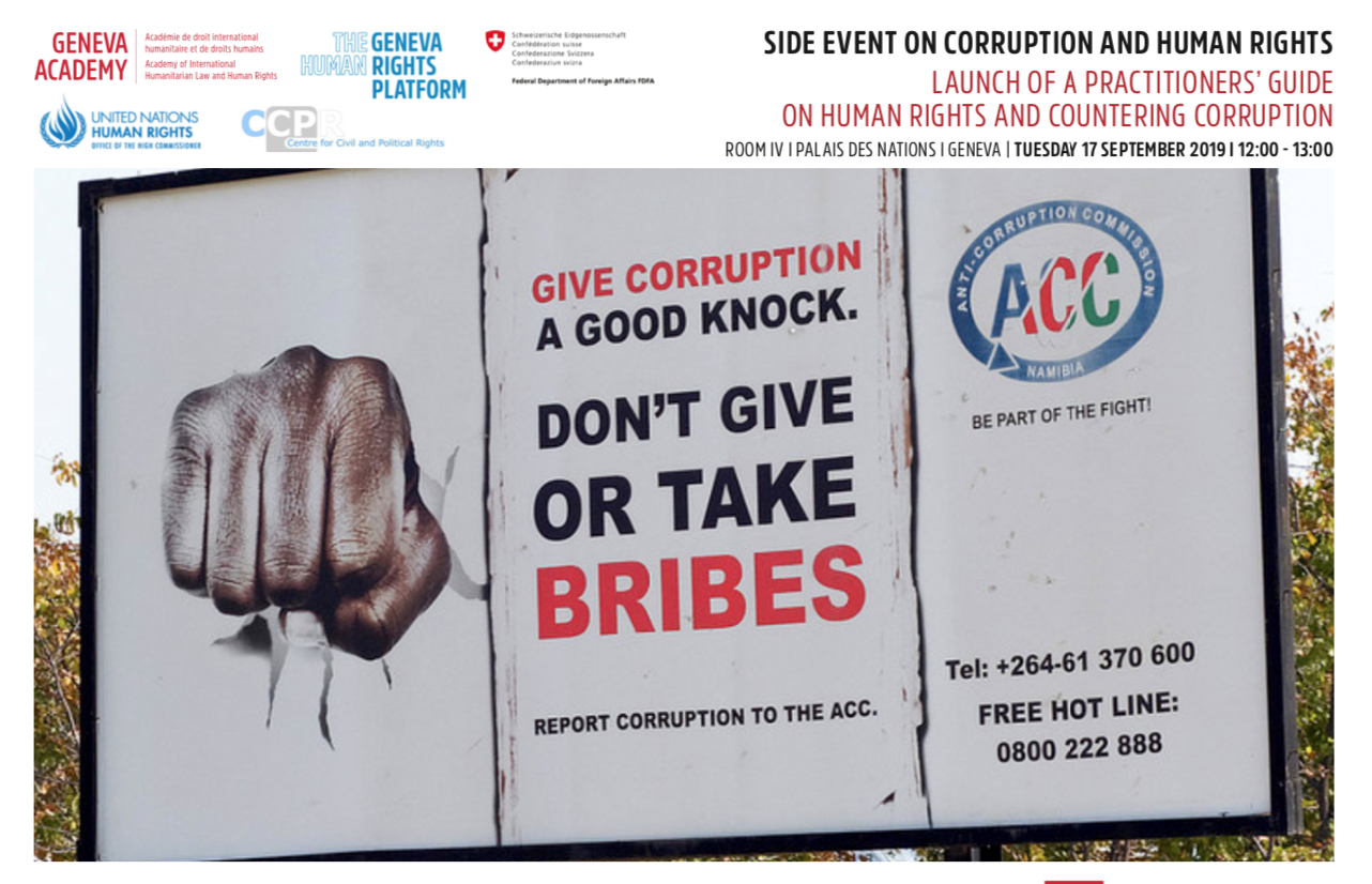 Launch of the practitioners' guide on corruption and human rights